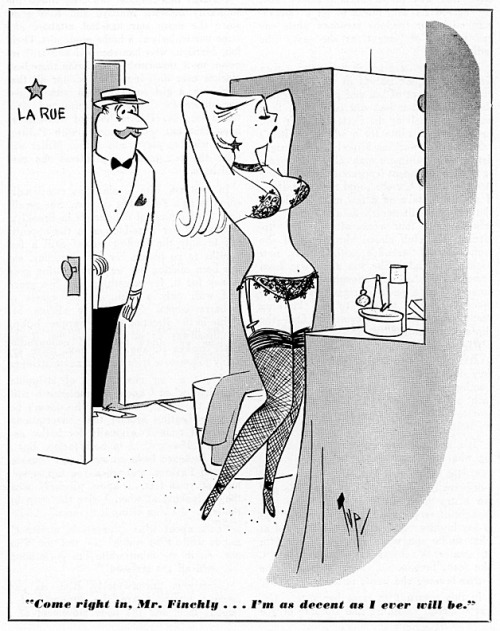 "Burlesk cartoon by Bob ""Tup"" Tupper.. From the pages of the October '56 issue of 'CABARET' magazine.."