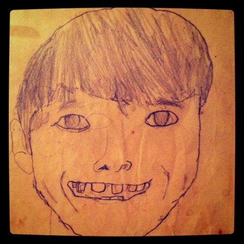 Self portrait. 8 years old.  (Taken with instagram)
