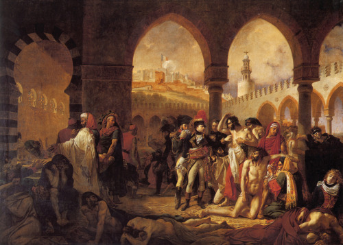 "theresponsiveeye:  Bonaparte Visiting the Plague Victims of Jaffa (Bonaparte visitant les pestiférés de Jaffa)Antoine-Jean Gros1804Oil on canvas, 532x720cm   This is a piece of Napoleonic propaganda. According to Wikipedia: ""It was an attempt to quell unsavory rumours after Napoleon ordered that fifty incurable plague victims in Jaffa be poisoned (without complete success) during his retreat from his Syrian expedition."""