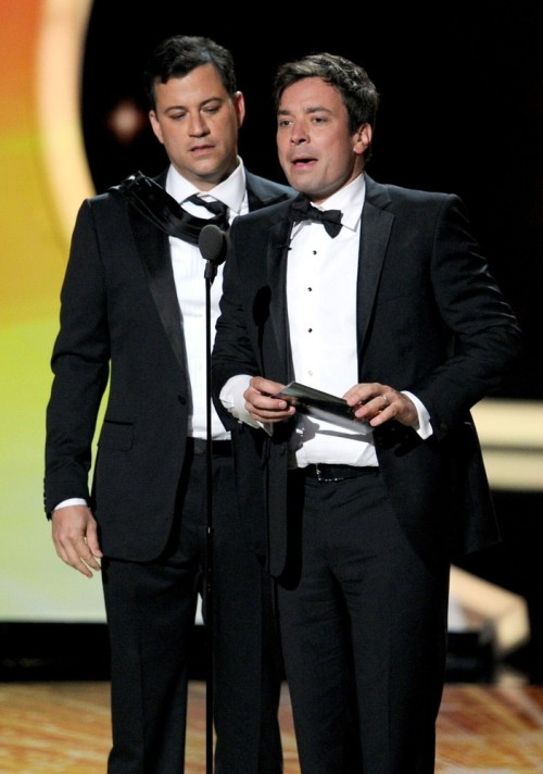 cokesnlfan:  Jimmy Fallon and Jimmy Kimmel (the Jimmys) on the stage of the 2011 Emmy Awards