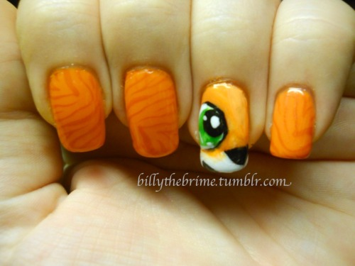Nail Art Challenge Design 12: Video Games- Pura from Crash Team Racing aka the only video game I play. Colors used: L.A. Girl Disco Brights- Light Show Sinful Colors- Black on Black, Lioba NYC- French White Tip Icing- Sour Apple Konad stamping plate m57