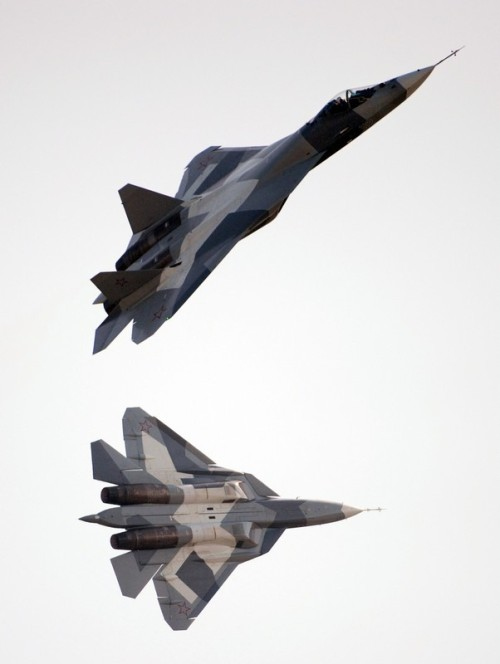 Two PAK FAs demonstrate at MAKS 2011.