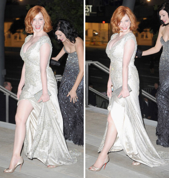 suicideblonde:  Christina Hendricks on her way to the 2011 Emmys Governor's Ball last ight Look at all that pale curvy lady!