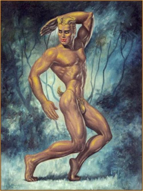 George Quaintance, Golden Faun, 1952, oil on canvas, 40x30 inches