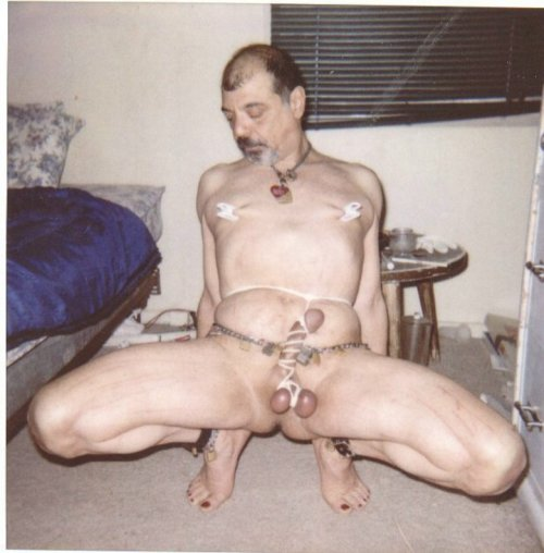 tony slave nipples clamped, belly and cock tied displayed naked for inspection