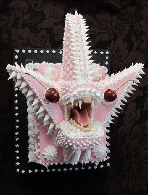 Your Deadly Desserts by Scott Hove Cakes with teeth. That's right, cakes which are monstrous and armed with  a full set of choppers designed by sculptor Scott Hove from Oakland,  CA. Hove has a show titled ' Your Deadly Desserts' coming up at Modern  Eden Gallery in San Francisco from October 8 to November 4 where the   aforementioned cakes will be exhibited via Hi-Fructose Magazine.