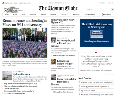 "A Unique Paywall Plan in Boston  Paid and free, side by side: The Boston Globe became the latest news organization to institute an online paywall this week, but it did so in an unprecedented way that should be interesting to watch: The newspaper created a separate paid site,BostonGlobe.com, to run alongside its existing free site, Boston.com. PaidContent has the pertinent details: A single price ($3.99 a week), and Boston.com gets most of the breaking news and sports, while BostonGlobe.com gets most of the newspaper content. As the Globe told Poynter's Jeff Sonderman, the two sites were designed with two different types of readers in mind: One who has a deep appreciation for in-depth journalism and likes to read stories start-to-finish, and another who reads news casually and briefly and may be more concerned about entertainment or basic information than journalism per se. The first thing that caught many people's attention was new site's design — simple, clean, and understated. Tech blogger John Gruber gave it a thumbs-up, and news design guru Mario Garcia called it ""probably the most significant new website design in a long time."" The Lab's Joshua Benton identified the biggest reasons it looks so clean: Far fewer links and ads. Benton (in the most comprehensive post on the new site) also emphasized a less noticeable but equally important aspect of BostonGlobe.com's design: It adjusts to fit just about any browser size, which reduces the need for mobile apps, making life easier for programmers and, as j-prof Dan Kennedy noted at the Lab, a way around the cut of app fees required by Apple and others. If the Globe's people ""have figured out a way not to share their hard-earned revenues with gatekeepers such as Apple and Amazon, then they will have truly performed a service for the news business — and for journalism,"" Kennedy said. Of course, the Globe could launch the most brilliantly conceived news site on the web, but it won't be a success unless enough people pay for it. Poynter'sSonderman (like Kennedy) was skeptical of their ability to do that, though as the Atlantic's Rebecca Rosen pointed out, the Globe's plan may be aimed as much at retaining print subscribers as making money off the web. The Washington Post's Erik Wemple wondered if readers will find enough at BostonGlobe.com that's not at Boston.com to make the site worth their money.  Via Nieman Lab"