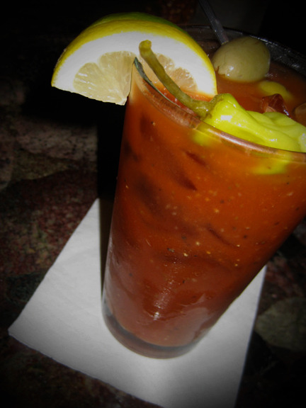 Just when you thought you had tried it all… This is a Smoked Salmon Bloody Mary. The salmon flavor is in vodka produced by Alaskan Distillery. I enjoyed it with the delicious house mix at Osteria832 in the Virginia Highlands, Atlanta. Highly recommended with a plate of their Spaghetti Pomodoro. Photo credit: Lush Lady