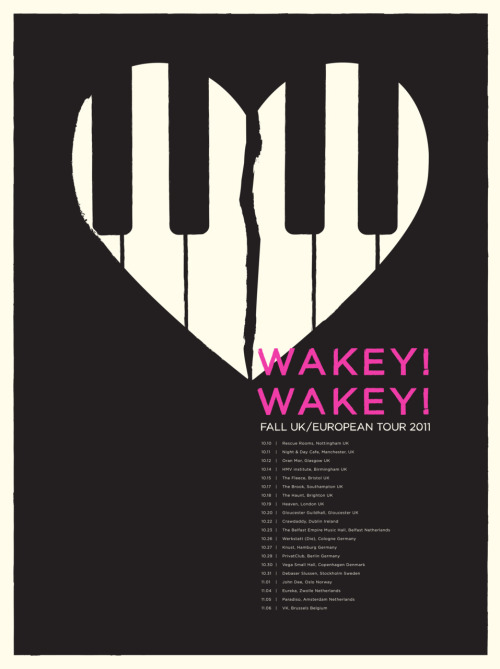 In just a few weeks Wakey!Wakey! are heading out on their next UK & European adventures. This beautiful poster designed by Jose and Edwin of I Love Misery will be for sale as a limited edition screen-print on the tour, grab them while you can! - Lauren