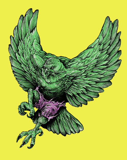 "justinrampage:  The Incredible Hawk is angry and ready to smash some skulls! Thanks to your votes, this crazy cool mash up by Peter Kramer and Nathan W. Pyle is now up for sale over at Threadless. ""Hawk Smash!"" The Incredible Hawk by Peter Kramer and Nathan W. Pyle (Twitter)"