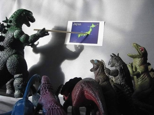 Godzilla plans the attack.