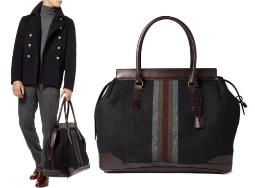 Burberry - Large Striped Felt Holdall Bag
