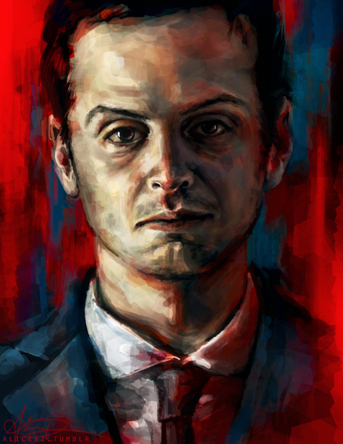 alicexz:  Portrait of Moriarty that I spent several hours painting yesterday. It goes with my Sherlock and John portraits! Tried to get a creepy, blood-soaked look. I'm debating whether or not to paint Mycroft too, to add to this series. Not sure if I want a triptych… or a quadtych? Is that even a word? Anyway, I'll be composing all of them together to maybe sell as one big print or something. You can view larger at my deviantArt. Prints of my artwork here.