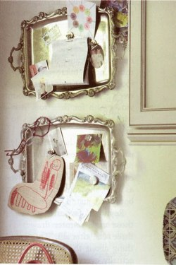 leighdesigns:  Antique trays as magnet boards = ingenious idea