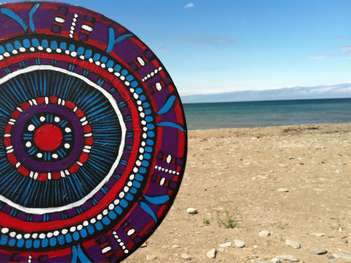 My Mandala Mantra Drum at Lake Erie - Freeport Beach, North East, PA