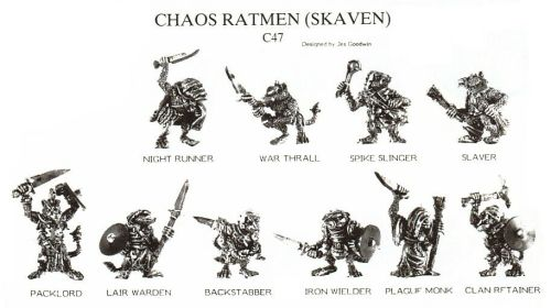 Citadel Miniatures C47 Chaos Ratmen, the very first Skaven releases. Jez Goodwin, mid-1980s.