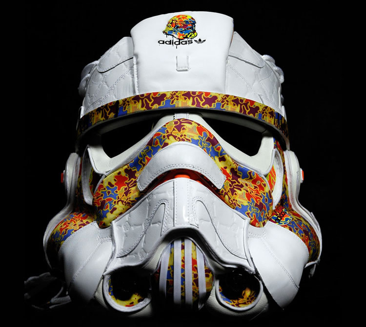 "Freehand Profit fabricated a unique helmet made of Adidas Sneakers entitled ""All Day I Dream About Stormtroopers"" for the ""Star Wars Remix"" blog."