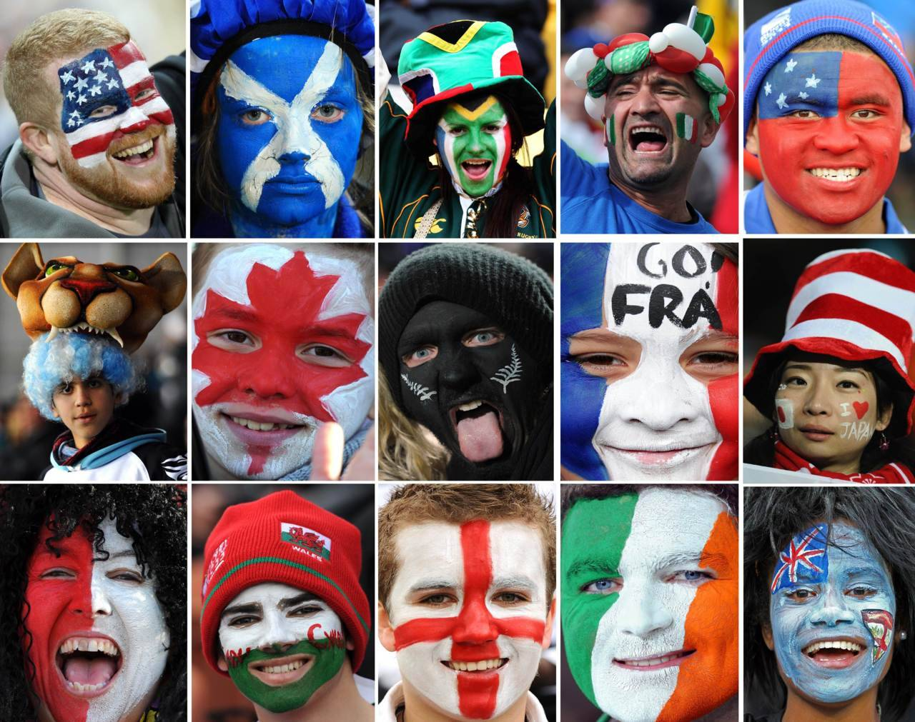 nationalpostsports:  Rugby World CupA combination picture shows fans of 15 out of 20 World Cup teams with patriotic face paint. STF/AFP/Getty Images