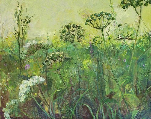 Ann Oram Field Edge with Cow Parsley and Wild Flowers 21st century