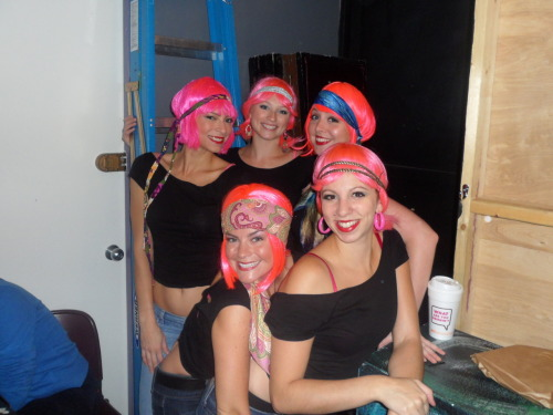 "Back stage with Pink Hair Affair for ""One City Under A Groove""."