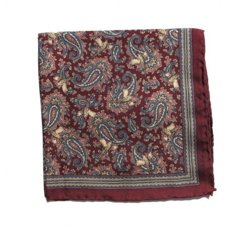 nickelcobalt:  Ovadia & Sons Burgundy Pheasants Silk Pocket Square