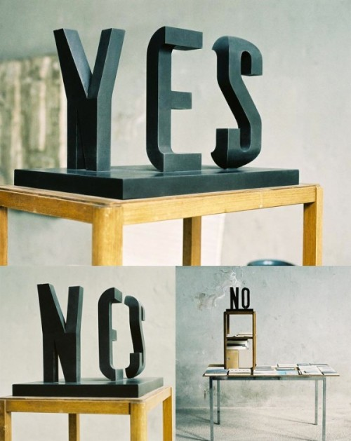 curiositycounts:  Yes/No – brilliant typographic illusion sclpture by Markus Raetz   (via)