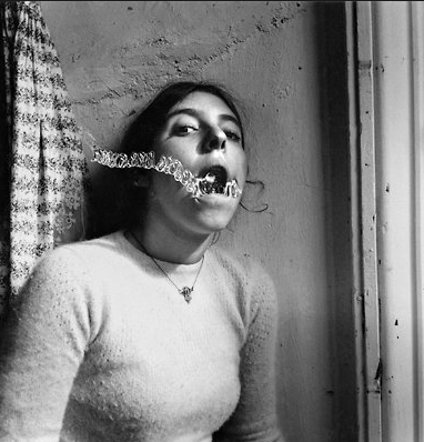 A self-portrait of the feminist photographer Francesca Woodman (1975-78)