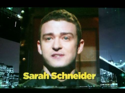 collegehumor:  Proud to see the Sarah Schneider shout out at the Emmy's last night. Prouder that without context, it looks like she was mistaken for Justin Timberlake. (thanks @NickBossRoss)  This is actually awesome. So awesome. Totes awesome. Congrats to Sarah, my fellow 3EB Junkie.