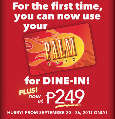 Our Early Christmas Offer! With your PALM Card, you get a FREE Pizza for every pizza & Pepsi purchase. Save as much as P1,995 for every 5-pizza order!