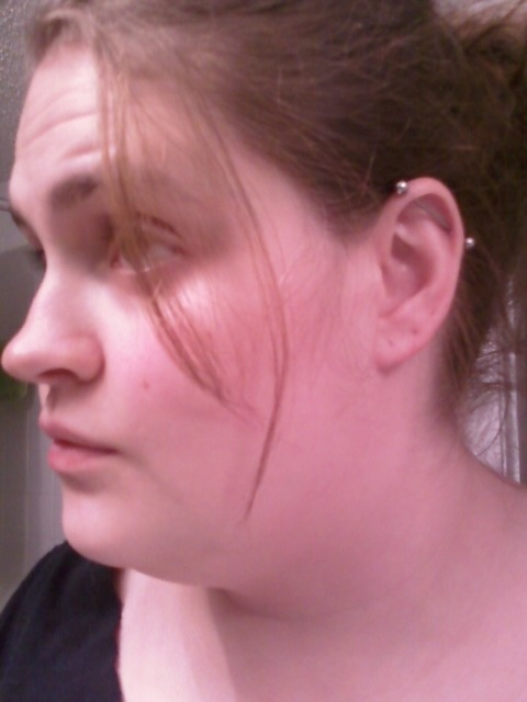 09/17: A photo of my industrial piercing on my left ear