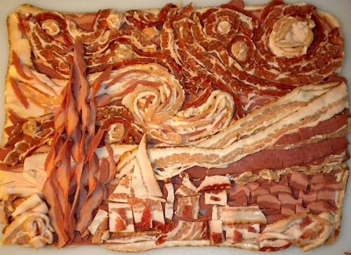 Vincent Van Gogh's Starry Night recreated in bacon.