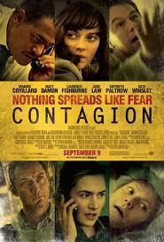 """Contagion""Written by Scott Z. Burns Directed by Steven Soderbergh.  Stars: Matt Damon, Lawrence Fishburne, Kate Winslet, Jude Law and Gwyneth Paltrow. Story: A thriller centered on the threat posed by a deadly disease and an international team of doctors contracted by the CDC to deal with the outbreak. Seen by Lars & Adam, Sept 10, 2011 LARS:There is no such thing as 'A Stephen Soderbergh' picture.  His films are so diverse that they may as well have been directed by a whole bunch of different people. He sometimes acts as his own director of photography and will carry the camera around himself. He has starred in one of his own movies (""Schizopolis"") and has made excellent popcorn movies like ""Out of Sight"" and ""Oceans Eleven"" as well as his initial claim to fame, the film that kicked off a 1000 bad imitations but was at the time a ground-breaking indie, ""Sex, Lies & Videotape"". This preamble is just to say that you generally have no idea what to expect, when you go to see a movie directed by Soderbergh. It could be one of his crowd pleasers, or a small personal experiment. In that respect, he is one of the true originals of American film in the last two decades.The story of his latest, ""Contagion"", is not exactly an original concept. It aims to show exactly what happens, when a lethal virus jumps from animals to humans, much like we've seen with AIDS, SARS and N1H1 (you can't be a lethal virus and not have an abbreviation, apparently). This plot has played out in a number of films before, e.g. ""Outbreak"", and the whole doomsday scenario is the driver of many a science-fiction movie. When I first saw the trailer for ""Contagion"", it looked like an amazing thriller that stood out based on a spectacular cast (Matt Damon, Gwyneth Paltrow, Jude Law et al) and that's what I expected. Instead I got something very different.The first word that comes to mind when trying to describe the film is 'clinical'. It is a step-by-step depiction of what would likely happen if (or, more likely, probably when) a global virus breaks out. The script, written by former ad guy Scott Z. Burns, flows logically from event to event and does a great job in terms of believability. What it doesn't do so well is entertain. In many ways, without the stars and the name director, this would have been a fine documentary on History Channel. The problem is that there is never anyone to relate to, nor a central conflict (other than stop the virus, of course). The first rule of any disaster movie is that you have to establish casts of characters that the audience loves and hates and then make the former survive horrifying ordeals and the latter perish in inventive ways. Then you have to come up with a fun way of stopping the disaster – a central point where this movie fails spectacularly. ""Contagion"" flaunts these rules, and its reportage style becomes (dare I say it) a little boring.This is certainly no fault of the actors, who are uniformly excellent. Matt Damon's reaction when he learns that his wife has died is a magnificent piece of acting. Jude Law's annoying and insane conspiracy theorist is thoroughly unlikeable and a nice departure for Law. And, personally, I really enjoyed seeing Gwyneth Paltrow die. And it's always nice to see Lawrence Fishburne – even if he does increasingly look like the answer to the question 'who ate all the pies?' ADAM:Do you take responsibility for your actions, or are you the type of person who places blame upon what set things in motion?  It's an interesting psychological question about behavior.  Saying the poor service I received at a store led me to leave at a certain moment, which led to the particular cab which smelled of gasoline, that gave me a frustrating headache, which is why I kicked the cat when I finally got home is not logical; it's an excuse for bad behavior.  However, statistical-based cause and effect data is much more profound (in fact undeniable).  What's most interesting to me is that, at least in Hollywoodland, regardless of which of these templates is the backdrop for telling a story, ultimately fate has a hand; what will be, apparently will be.  Two films (both featuring Gwyneth Paltrow) really prove the point.  One is the wonderful romantic comedy ""Sliding Doors,"" in which Paltrow plays a fired advertising exec whose life heads down two divergent paths (shown intermittently and flawlessly within the film) after a specific moment: her ability/inability to catch an underground train. The other is ""Contagion.""  Here, Paltrow's character works at the wrong company, is on the wrong assignment, and arguably makes the wrong decisions at the right time to become carrier one of a hybrid bat/pig disease from Asia that proceeds to potential end human civilization as we know it.Directed by Steven Soderbergh, who I personally think is competent behind the camera when filming drama, ""Contagion"" actually ran like a documentary, straightforward and lacking twists, so the audience is putting together the mystery along with the members of the CDC, WHO, etc.  This is a bit of a problem since very little if anything is done to make the audience appreciate or like many of the characters.The cast is competent, though I wouldn't say challenged much, highlighted by strong efforts from Laurence Fishburne, Kate Winslet and Marion Cotilliard.  They're supported by Matt Damon, Jude Law, Bryan Cranston and others who do the best with what they're given.  And the scare factor is there: the brutal reality of how quickly and easily something like this can happen (and potentially wipe out so many before a cure is found, developed and distributed to the masses) is simply maddening — a concept that's like fear-based claustrophobia for your brain's ability to process logic.The film is certainly not without its faults, and I assign them more to gaping omissions or odd choices than anything else.  Jude Law plays the fly in the ointment, both to the illness itself with his atypical cure, and later to the government that's trying to solve the crisis.  Law's character is revealed to be a capitalist more than a savior, but his storyline comes across a bit foggy.  He meets someone who can help facilitate his role as informant, but we never get a sense of who that contact is, what his role is, or what the endgame is.  It still works (sort of), but it feels far less developed than other parts of the film.  Also, apparently as a character trait, Law or Soderberg decided to give Law's character a crooked front tooth.  Weird to do that to an actor with one of the best known perfect smiles, weirder still that propaganda posters abound in the film with hand-drawn illustrations of Law, showing his perfect smile.  And the tooth itself is clearly fake when Law is shot at certain angles.  Some shots even show his real tooth under the prosthetic.But this isn't about nit-picking or attention to detail…wait, maybe it is; the movie does outwardly preach(even if in the last minute) the danger of tearing down natural habitats and rain forests and points more than subtle fingers at adultery.  So I don't feel too bad  pointing out a few small mistakes of the film that might add up to something more significant as a sum?  Still, it's a decent effort all around, but certainly not something to see if you plan to travel to the orient, unless you are prepared to boil yourself every night in a pot of Purell."