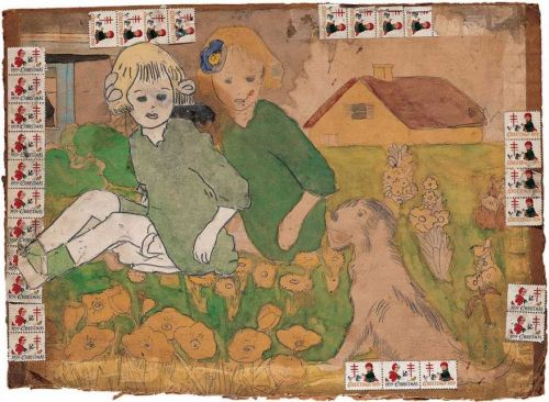 "Henry DargerUntitled (Two Girls and a Dog Sitting in Garden)1959 or later (via ""As Folk Art Museum Teeters, a Huge Loss Looms"" @ NYT; see also)"