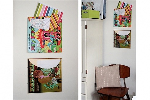 "storagegeek:  Easy Album Cover Wall Organizers « paper and stitch Been thinking about making some record bowls? Well, now you can use the sleeves too! Also, I'm wondering if record sleeves would store 12"" scrapbook paper?"