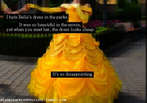 themagicoffacecharacters:  everyone including me seems to think this…disney makes SO much money. You'd think they'd be able to invest in a dress that looked the same and looked ncie.   Here's the thing, they don't make as much as everyone thinks. At least not lately. They've been hit by the recession just as everyone else has, it just took as little longer. A couple years ago they did massive layoffs and were in a hiring freeze for quite a while. They still haven't worked back up to where they were before. Also they've been giving SO many discounts on hotels/packages for the last year or so and that may bring people into the parks, but people haven't been spending the money on merch. It may seem like they make a lot of money, but they also have a lot of employees and other things they have to pay. Plus all the dresses are made in house and that's not cheap regardless of what it looks like in the end. Sorry, ended up ranting a bit there. xD I understand the not liking it, I complain about the wigs all the time, it's just the saying Disney makes a lot of money that I don't. Anyways, carry on :)