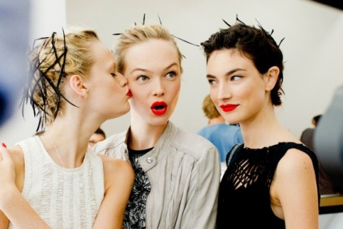 Backstage at Jason Wu