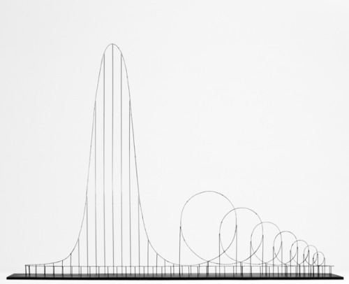 "newsweek:  discoverynews:  Suicide by Roller Coaster This is a hypothetic euthanasia machine in the form of a roller coaster,  engineered to humanely – with elegance and euphoria – take the life of a  human being.  The 3-minute ride involves a long, slow, climb — nearly a third of a  mile long — that lifts one up to a height of more than 1,600 feet,  followed by a massive fall and seven strategically sized and placed  loops. The final descent and series of loops take all of one minute. But  the 10g force from the spinning loops at 223 mph in that single minute  is lethal.  More  This is nuts. The creator, Designer/Artist Julijonas Urbonas, tells Discovery he doesn't see his suicide machine as being about death, but as ""an intellectual and artful departure from the  world."""