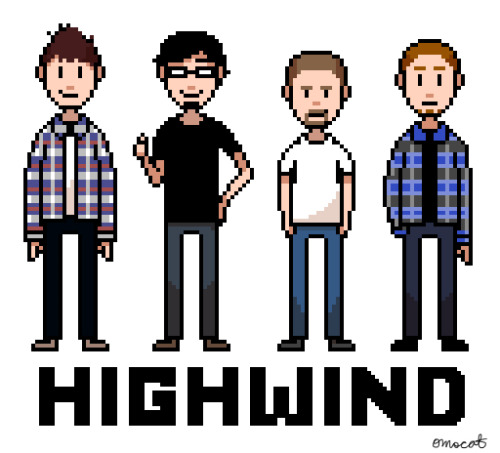 commission for dylan is done!! pixel art of all four members of his band, highwind! :) nice.