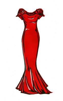 Lea Michele's 2011 Emmy gown by Marchesa Illustration by Lis Sartori (www.lissartori.com)