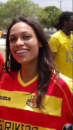 Actress Rosario Dawson spotted rockin' a Fort Lauderdale Strikers kit by Joma. Buy kit here.                   - DJ