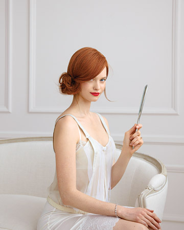 Scarlet hair and ruby lips paired with ivory slip over creamy skin. Perfection.