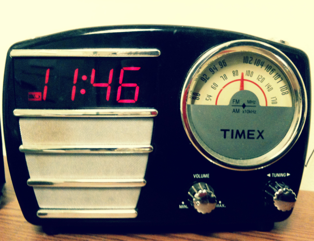 Retro styled Timex clock radio.