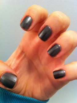 Revlon, Steel-her HeartI love this polish. love love love.It's a dark gun metal and for the most part shows up as an ink-y black, but its silver/grey shimmer catches the light perfectly and gives it depth. I also have Sally Hansen's Xtreme Wear Gun Metal  but it's a lighter, more blue-based colour.(I'll swatch a comparison tomorrow)I think I'm starting to play favourites with my closely-hued polishes. Also, I felt like adding an accent so I went for leopard print…=/ instagram was not kind to the appearance of my cuticles/hangnails…still, quite pleased =]