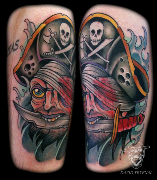 fuckyeahtattoos:  Fun pirate zapper. Tattoo by David Tevenal - http://www.davetattoos.com  Hot damn this dudes shits so dope! Hit up his portfolio