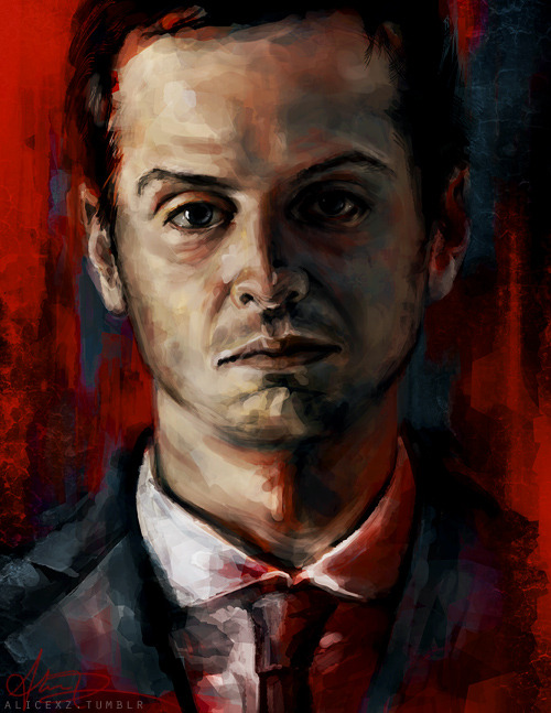 alicexz:  Sorry guys, but I had to redo this! This is my finalized Moriarty painting, I was just not happy with the one I showed before and I wish I hadn't posted it. Er, please share this one instead. ;_; But like I said earlier! This painting goes with my Sherlock and John portraits. You can view larger at my deviantArt or get a print here. I think I WILL do a Mycroft now…