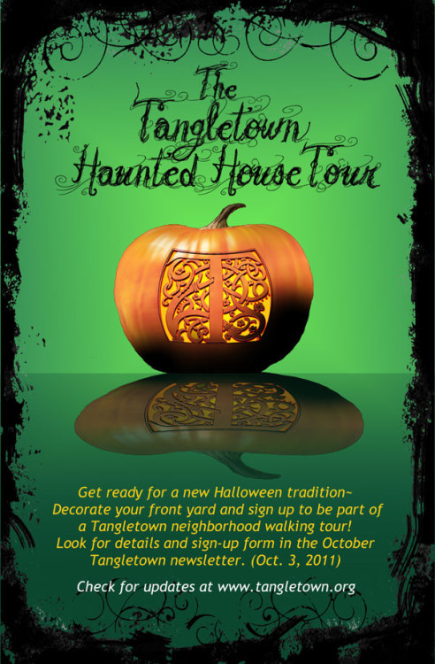 swirlspice:  I like the Tangletown logo in the pumpkin. I wonder if anyone has carved/will carve that for real. (via Your friendly Tangletown Neighborhood Association is sponsoring a new Halloween event « Tangletown Neighborhood)