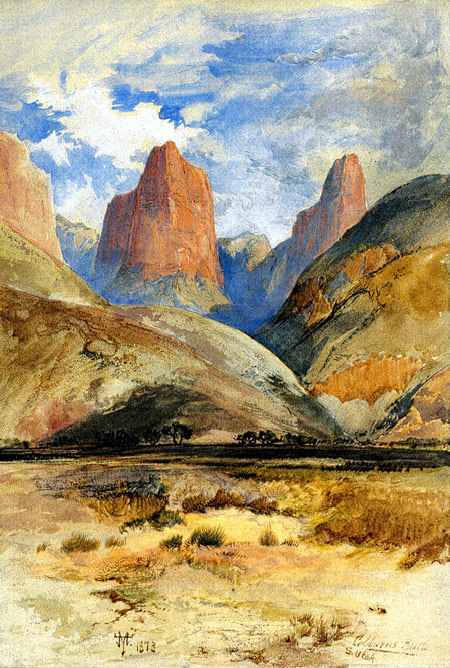 cavetocanvas:  Colburn's Butte, South Utah - Thomas Moran, 1873 From the Heilbrunn Timeline of Art History:  The journey that resulted in the first painting of the Grand Canyon also yielded this watercolor by the same artist, Thomas Moran. In late July 1873, Moran was en route from Salt Lake City to the north rim of the Grand Canyon to join the expedition of John Wesley Powell. Near Kanarraville, Utah, he recorded in his sketchbook two Navajo sandstone pinnacles that offered a preview of the magnificent Zion Canyon to the south, which he visited days later. With Moran was Justin Colburn, a correspondent for theNew York Times, to whom he eventually gave the watercolor he made from the sketch and whose name he gave to its principal feature.