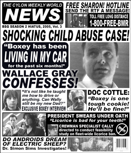 The Cylon Weekly World News (CWWN) Vol. 3. Stay tuned for tomorrow's edition!
