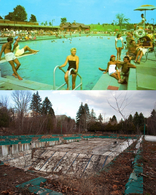 A before/after of the now abandoned Catskill Resort Hotel.    I think I've been there. I think this actually right near where my grandmother lives.
