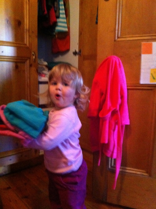 My little helper, even makes putting the washing away more fun (also, twice as time-consuming). But mostly, just lots more fun!